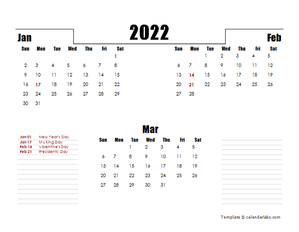 2022 Quarterly Three Month Calendar - Free Printable Templates with regard to Julian Calendar 2022 Printable
