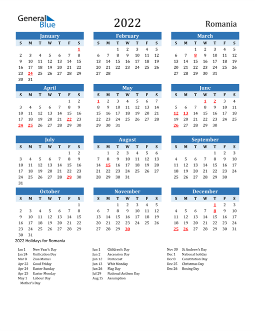 2022 Romania Calendar With Holidays with 2022 Day To Day Calendars For Men