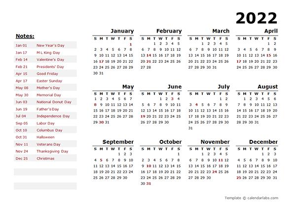 2022 Year Calendar Template With Us Holidays - Free throughout Julian Calendar 2022 Printable