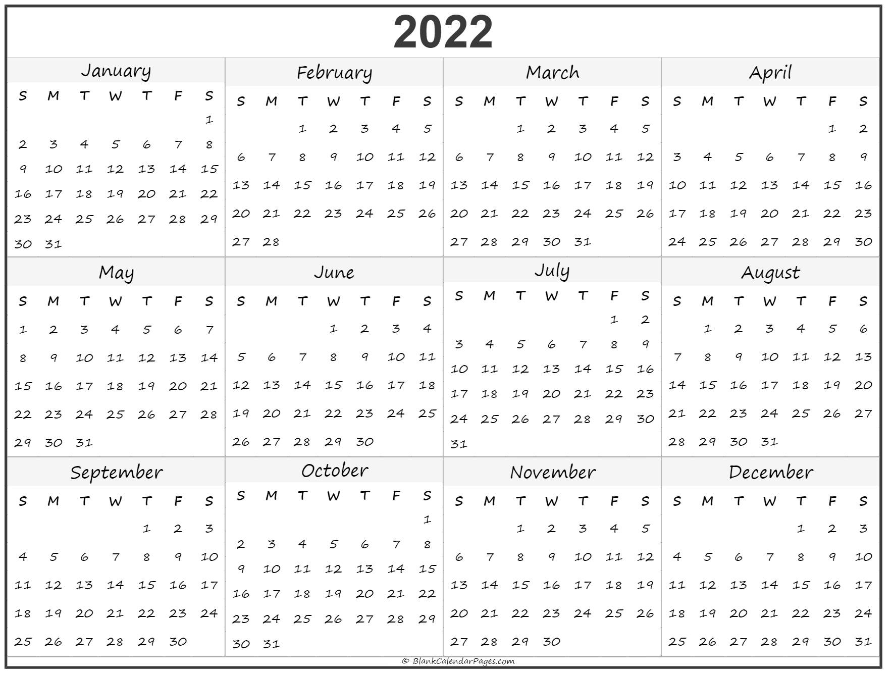 2022 Year Calendar | Yearly Printable in Walmart Fiscal Calendar For 2022