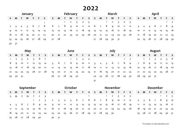 2022 Yearly Blank Calendar Template - Free Printable Templates throughout Julian Calendar 2022 Printable