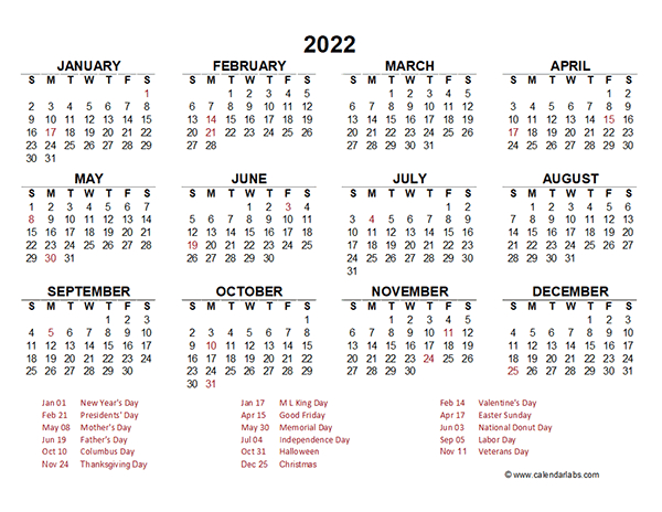 2022 Yearly Calendar Template Excel - Free Printable Templates for Julian Date For 2022