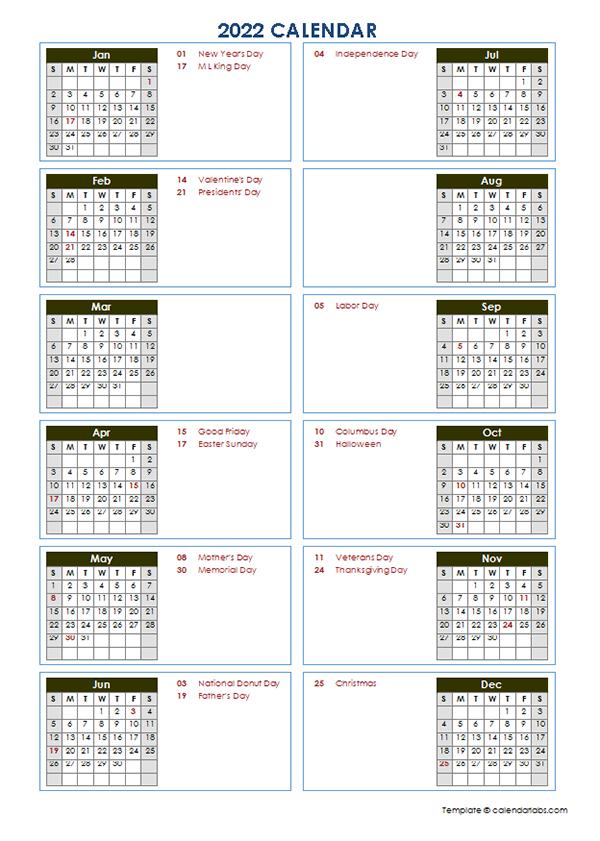 2022 Yearly Calendar Template Vertical Design - Free inside Yearly Julian Calendar 2022