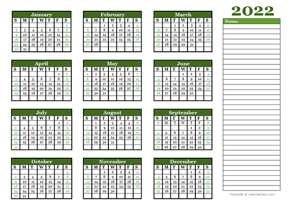 2022 Yearly Calendar With Blank Notes - Free Printable intended for Julian Date For 2022