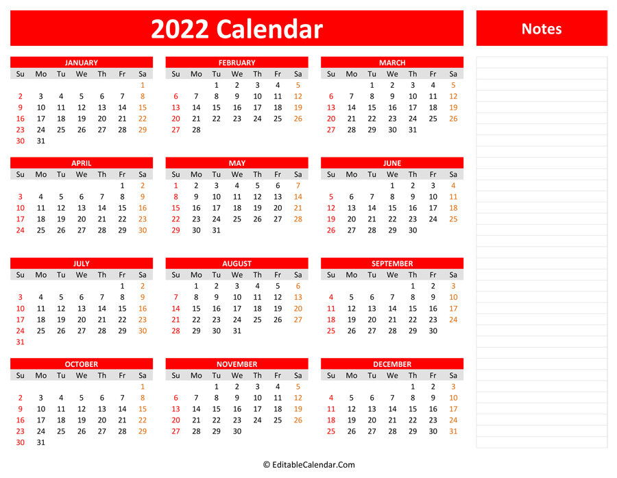 2022 Yearly Calendar With Notes with regard to Walmart 2022 2023 Fiscal Calendar