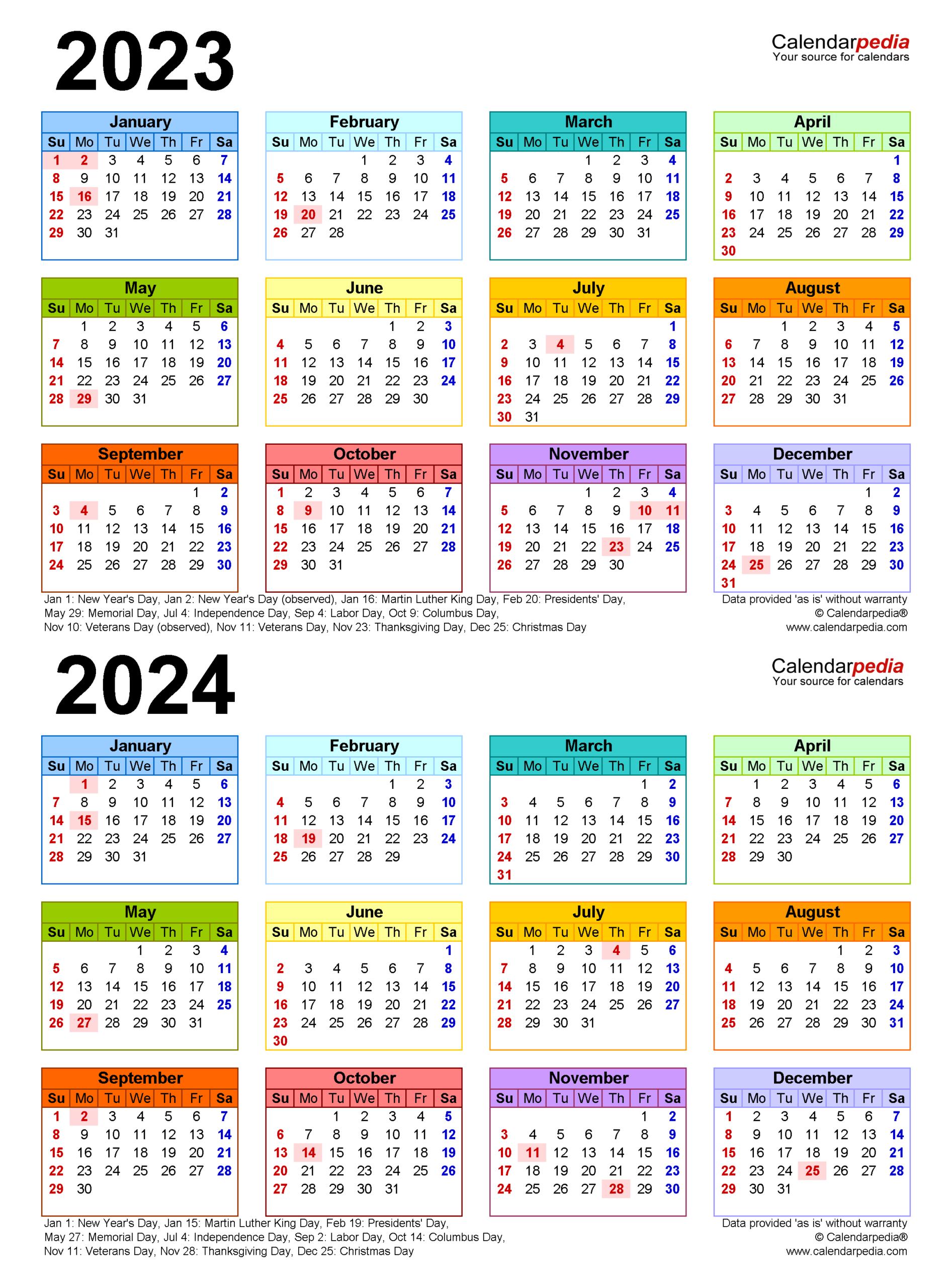 2023-2024 Two Year Calendar - Free Printable Microsoft with regard to 2022 2023 School Calendar North Penn