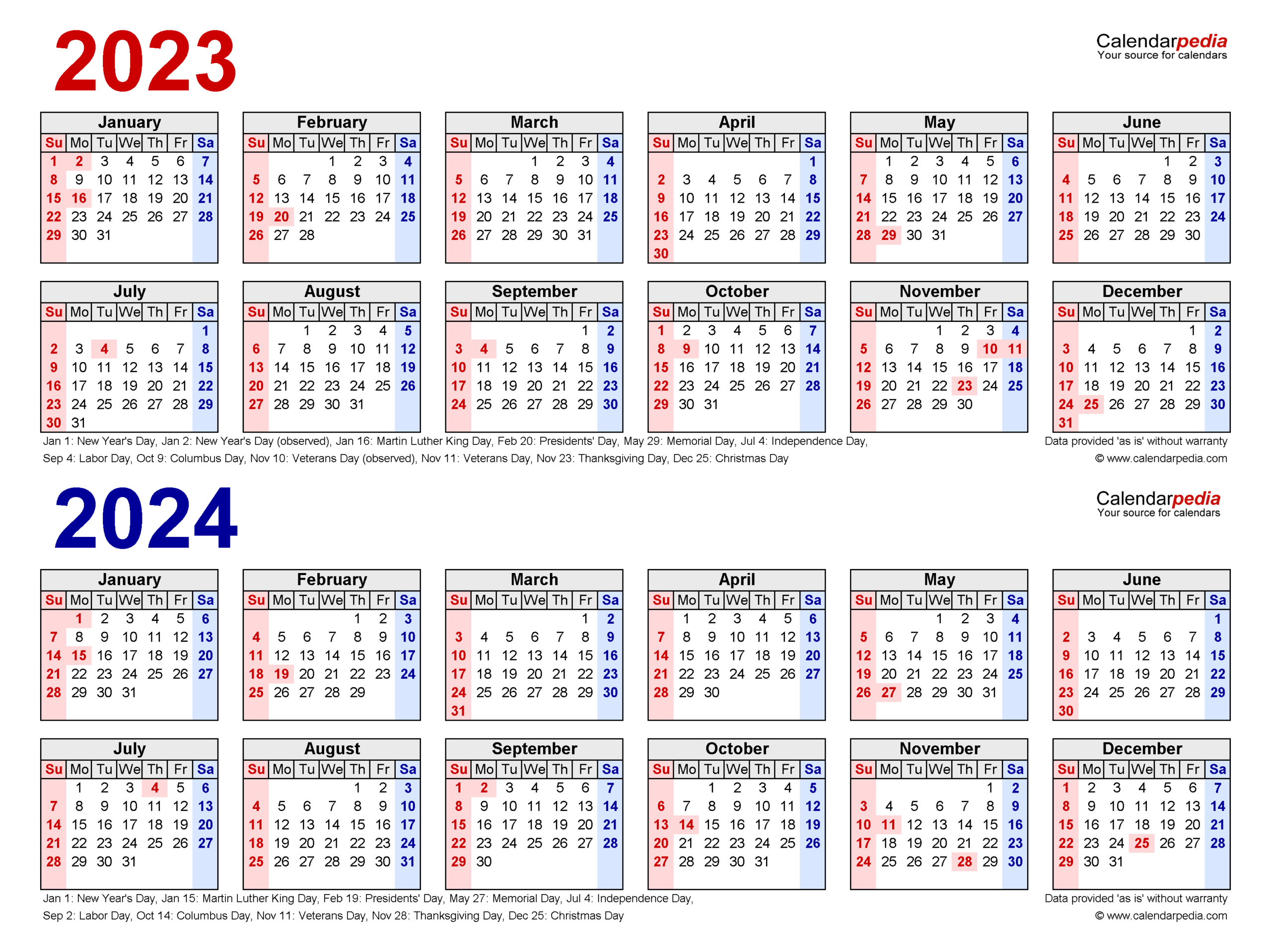2023-2024 Two Year Calendar - Free Printable Pdf Templates intended for Alternate Side 2022 Calendar