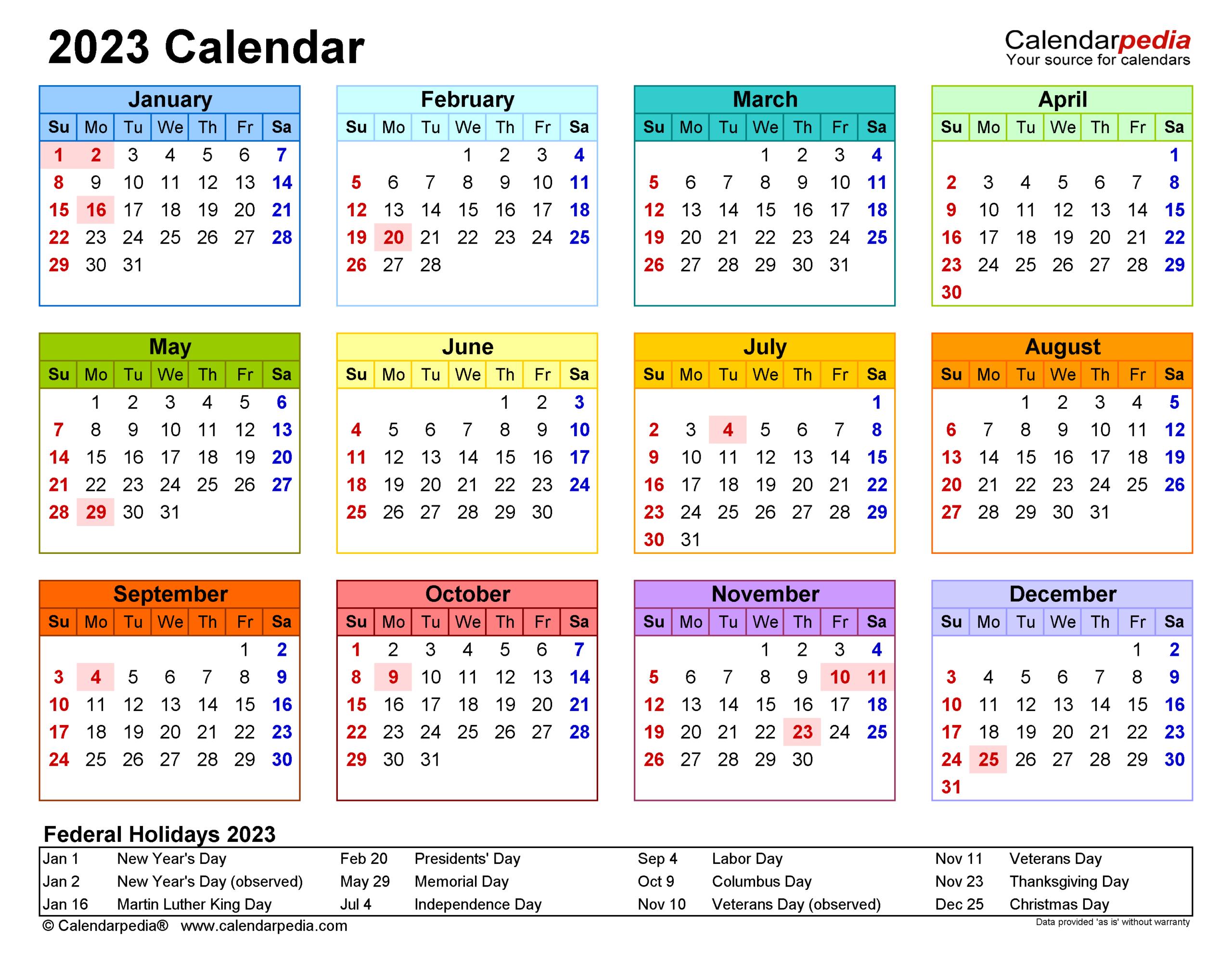 2023 Calendar - Free Printable Word Templates - Calendarpedia inside 2022 2023 School Calendar North Penn
