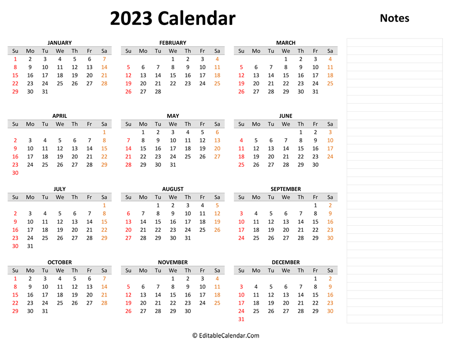 2023 Yearly Calendar With Notes with Walmart 2022 2023 Fiscal Calendar