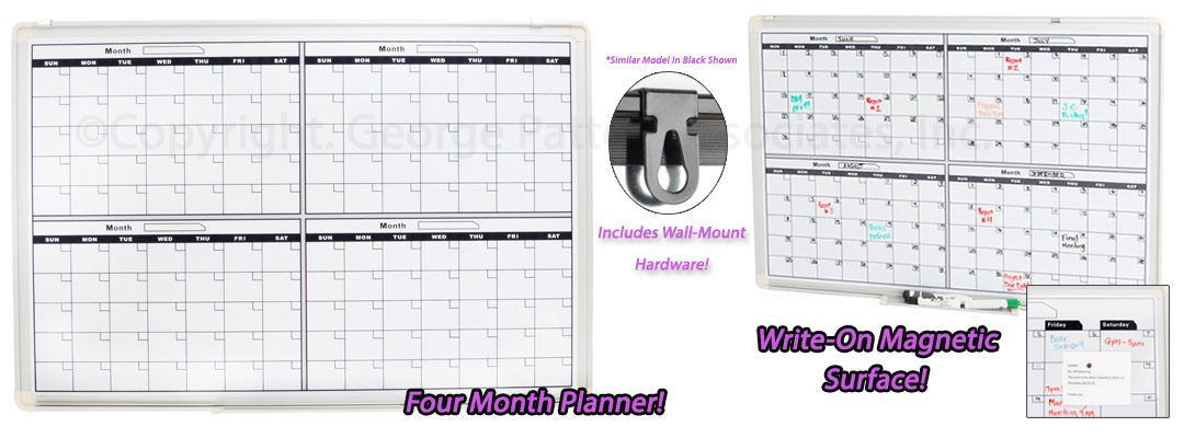 """25.5"""" X 23.75"""" Dry Erase Board For Wall, 4-Month Calendar pertaining to 4 5 4 Retail Calendar Printable"""