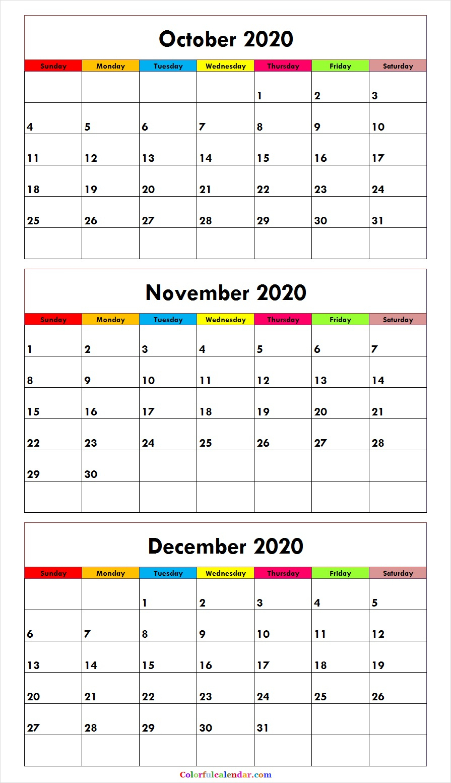 3 Month Calendar October November December 2020   Free with regard to Are Daily Holiday Calendars Copyright