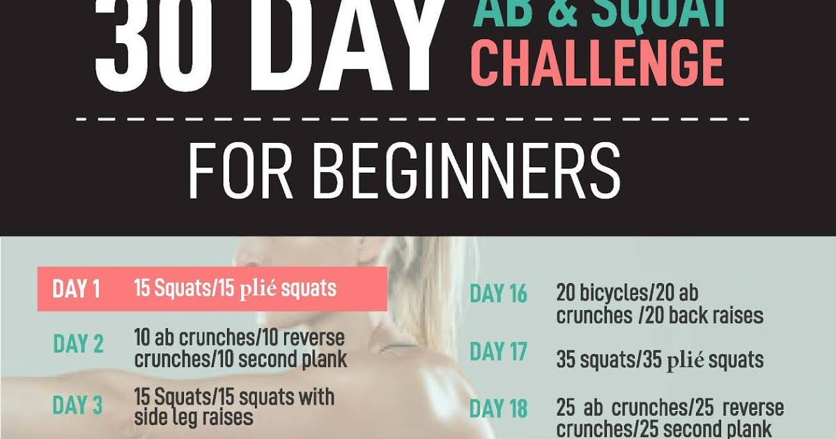30 Day Ab And Squat Challenge For Beginners in 30 Day Leg Challenge Printable Pdf