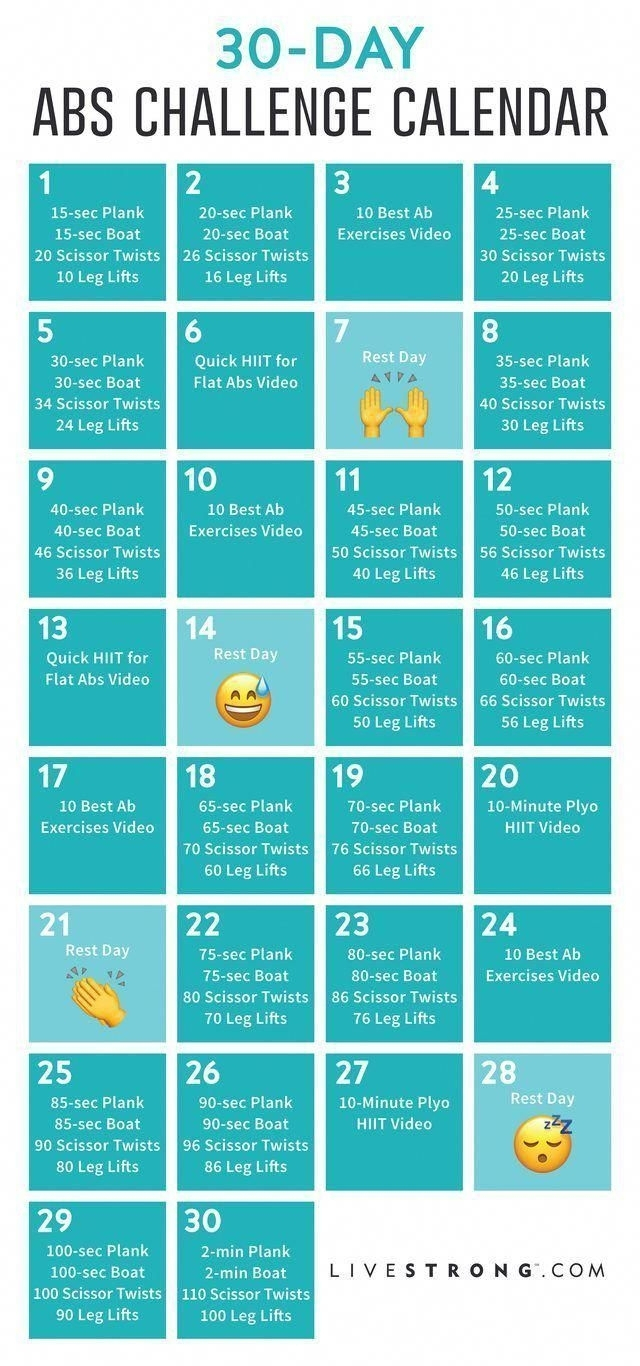 30 Day Ab And Squat Printable Calendar | Calendar Template in 30 Day Squat Challenge Calendar