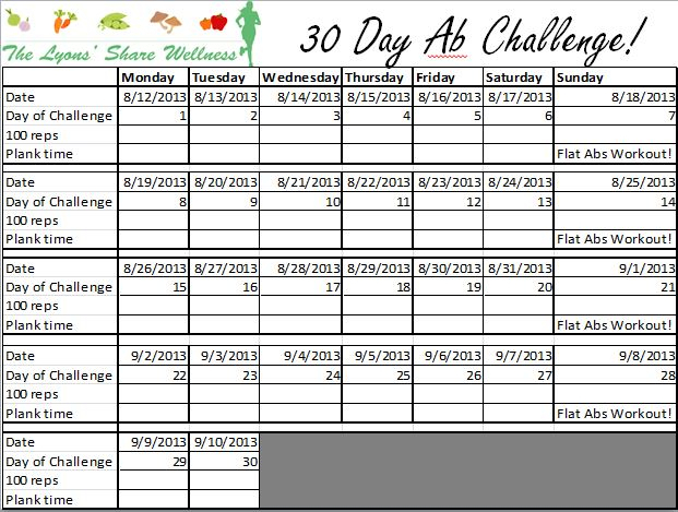 30-Day Ab Challenge With The Lyons' Share Wellness! throughout 100 Push Up Challenge Printable Pdf