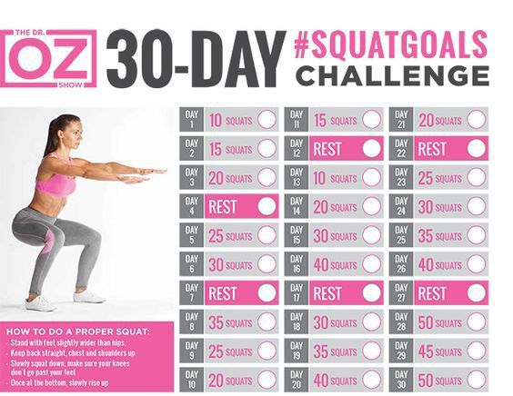 30-Day Exercise Challenge | 30 Day Squat Challenge, Squat with 30 Day Leg Challenge Printable Pdf