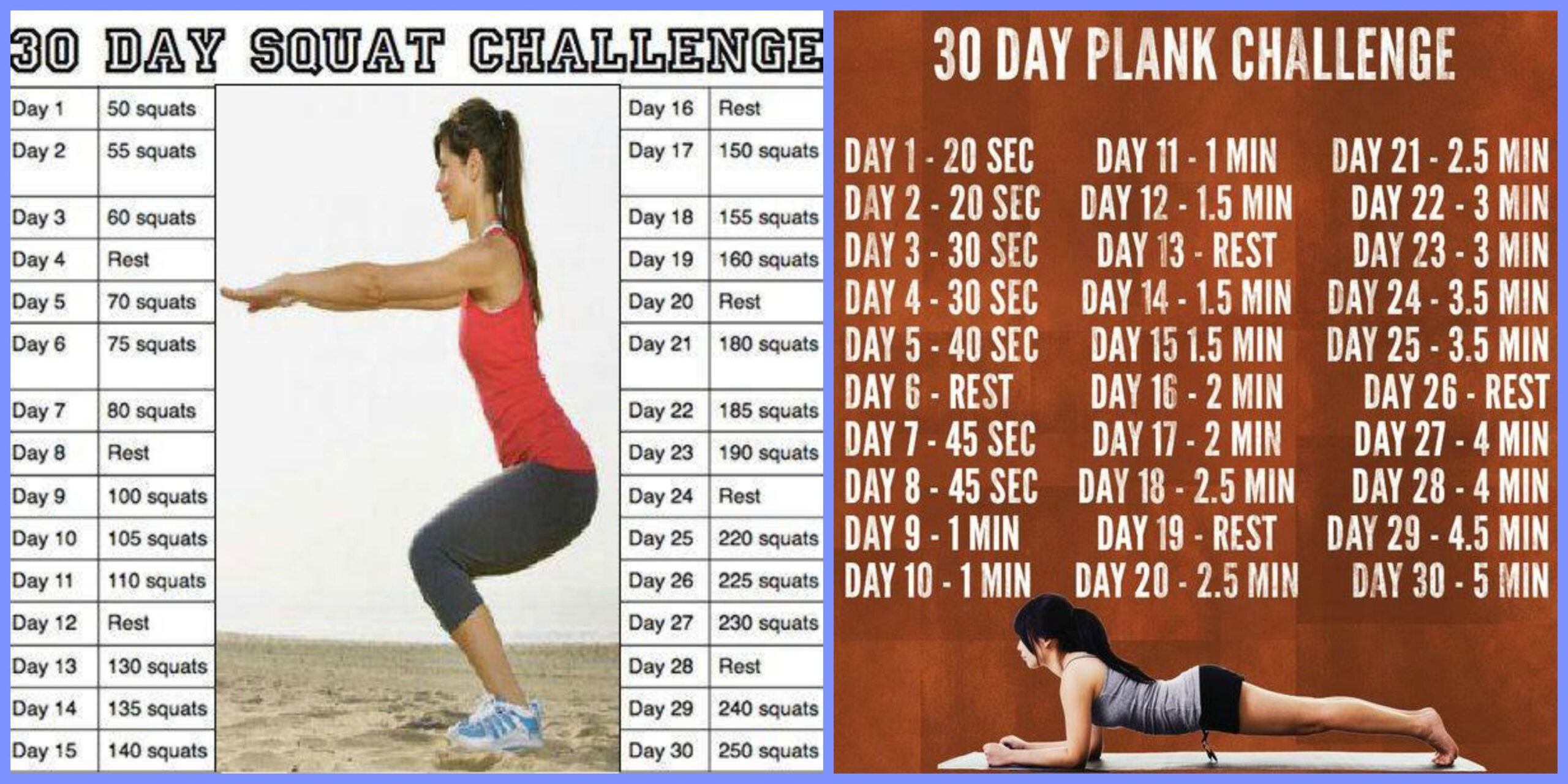 30 Day Sit Up And Squat Challenge Printable | Printable for 30 Day Squat Challenge Calendar