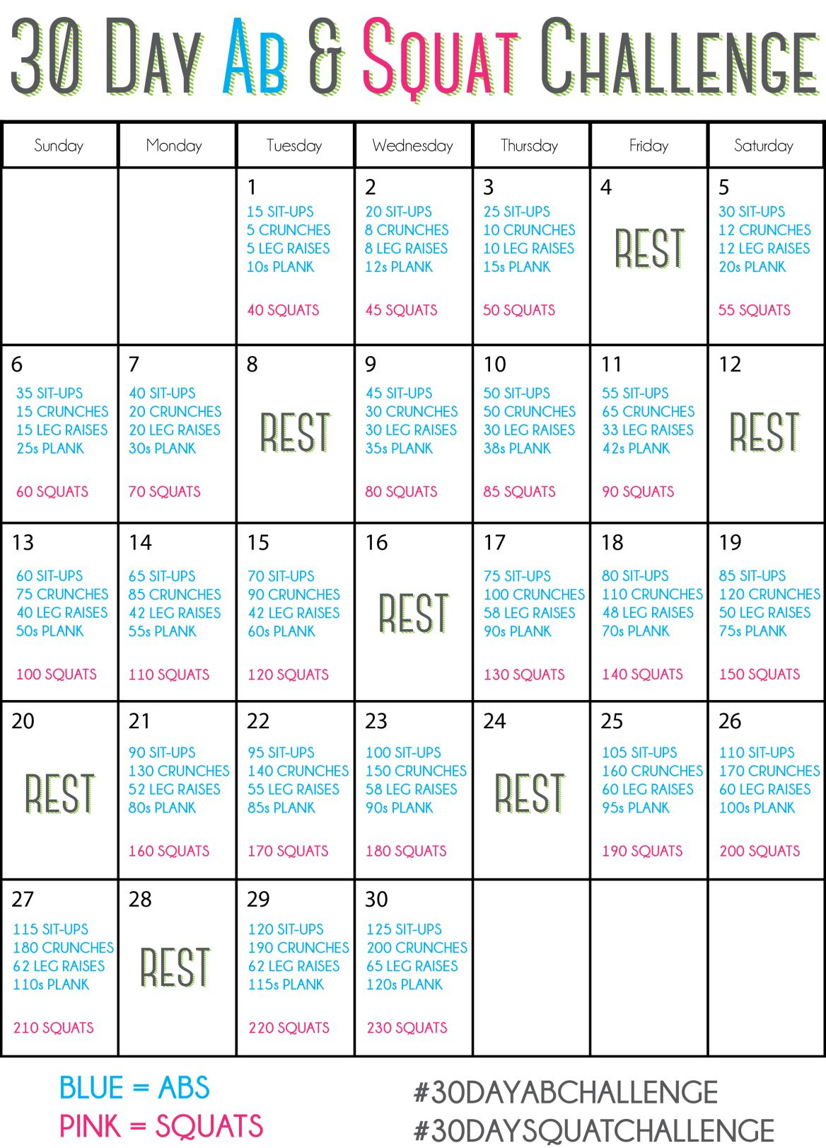 30 Day Sit Up And Squat Challenge Printable | Printable intended for 30 Day Squat Challenge Calendar
