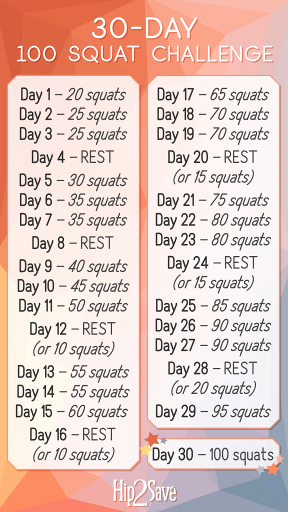 30 Day Squat Challange Printable - Calendar Template 2020 for 30 Day Squat Challenge Calendar