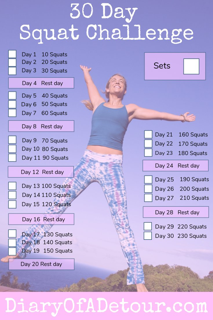 30 Day Squat Challenge : A Fitness Challenge For All Abilities with 30 Day Leg Challenge Printable Pdf