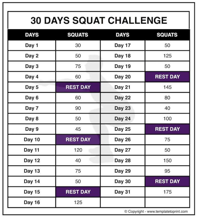 30 Squat Challenge Printable Calendar | Chart | Legs regarding 30 Day Squat Challenge Calendar