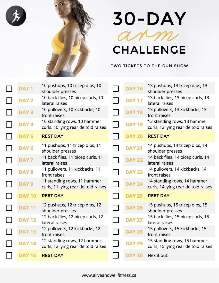 30+Day+Arm+Challenge | 30 Day Arm Challenge Calendar throughout 30 Day Leg Challenge Printable Pdf