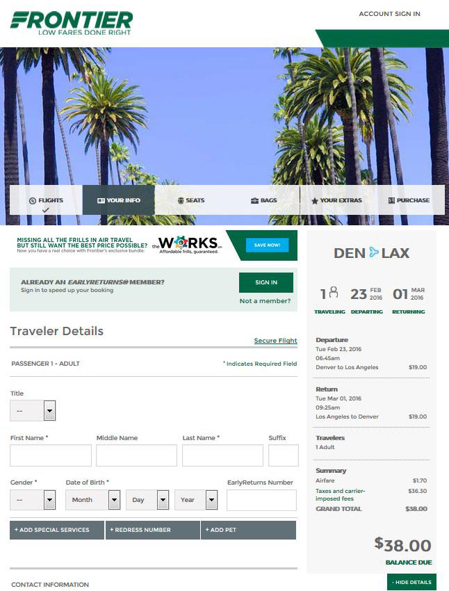 $44-$68 -- Denver To 16 Cities Nonstop, Ends Tonight (R/T inside Frontier Airlines Fare Calendar