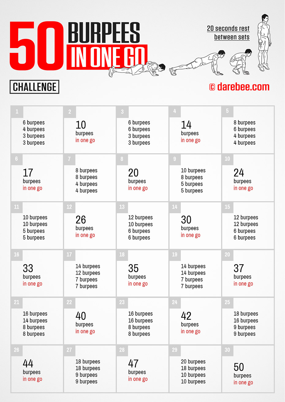 50 Burpees In One Go! pertaining to 30 Day Push Up Challenge Tracker Printable
