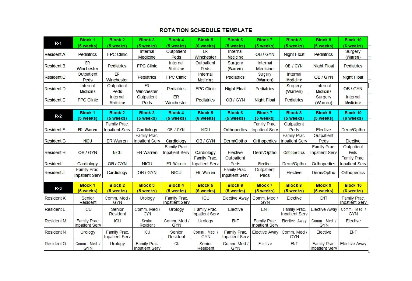 50 Free Rotating Schedule Templates For Your Company regarding 4 5 4 Retail Calendar Printable
