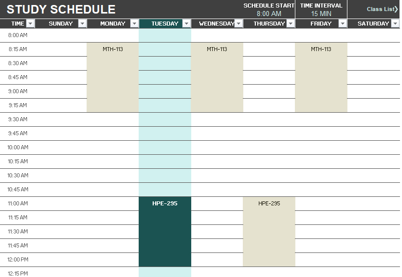 8 Free Study Schedule Templates - Ms Excel Format throughout Connect Excel To Calendar