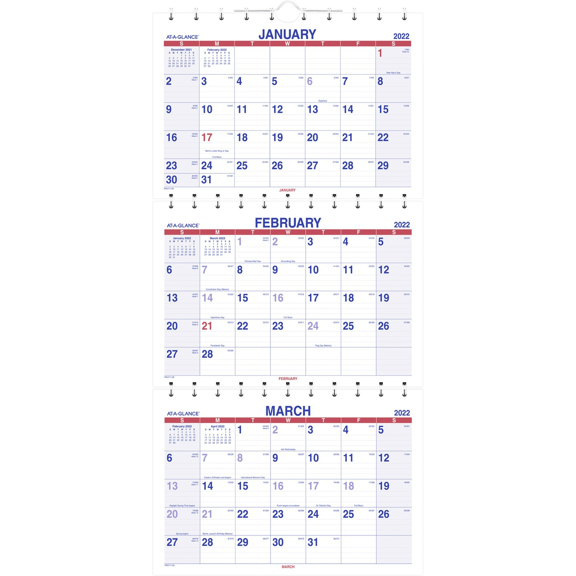 Aagpmlf1128 - At-A-Glance Move-A-Page 3-Month Wall inside Yearly Julian Calendar 2022