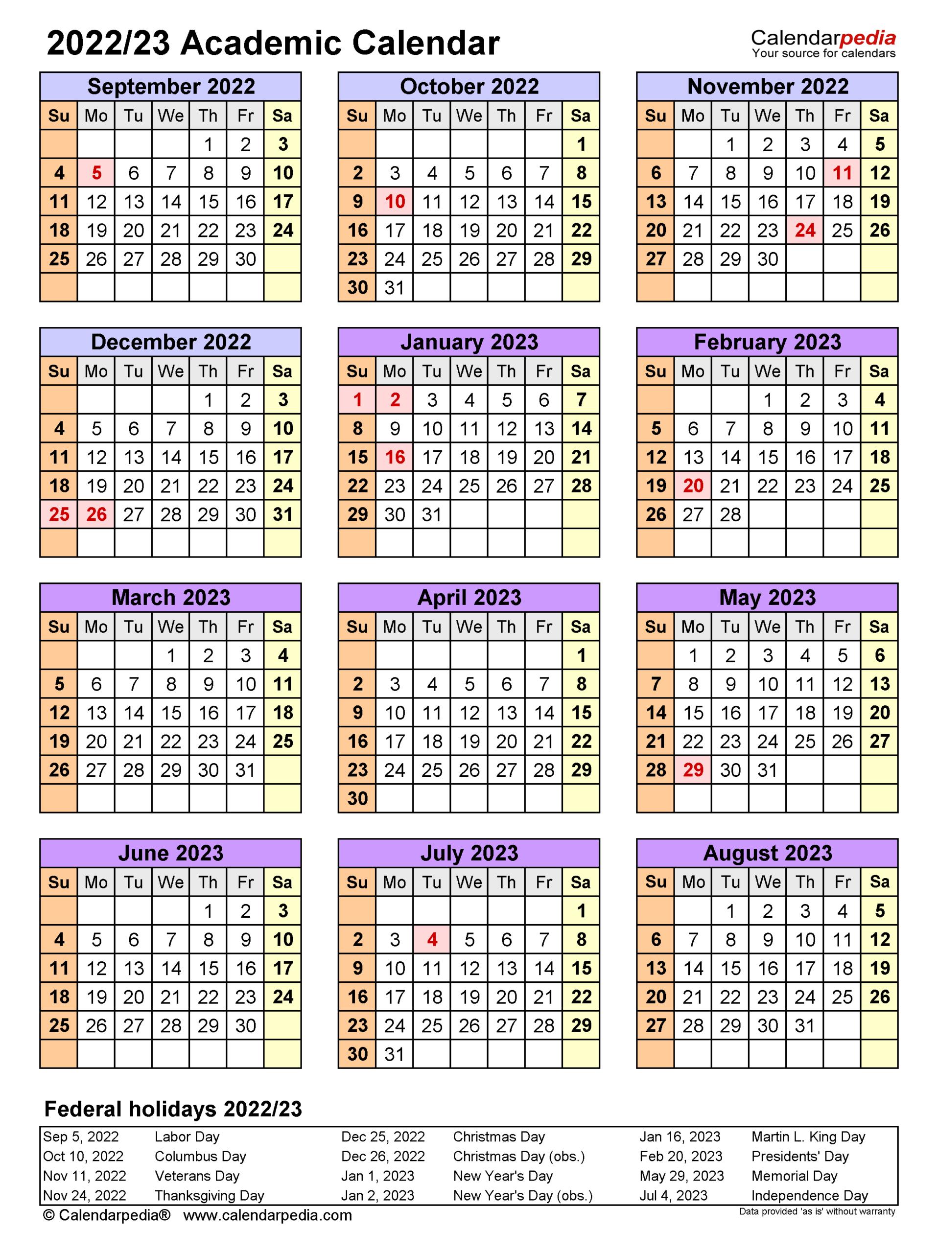 Academic Calendars 2022/2023 - Free Printable Word Templates inside Aiken County 2022 2023 School Calendar