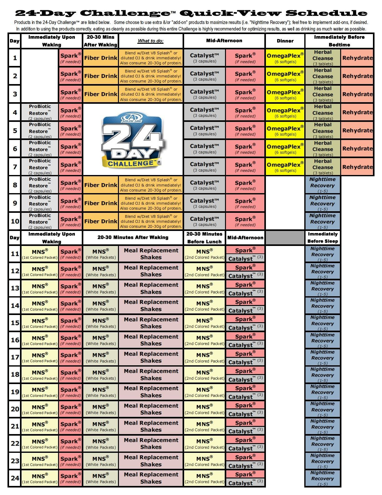 Advocare 24 Day Challenge Calendar | Printable Calendar throughout Track 4 Calendar Wake County