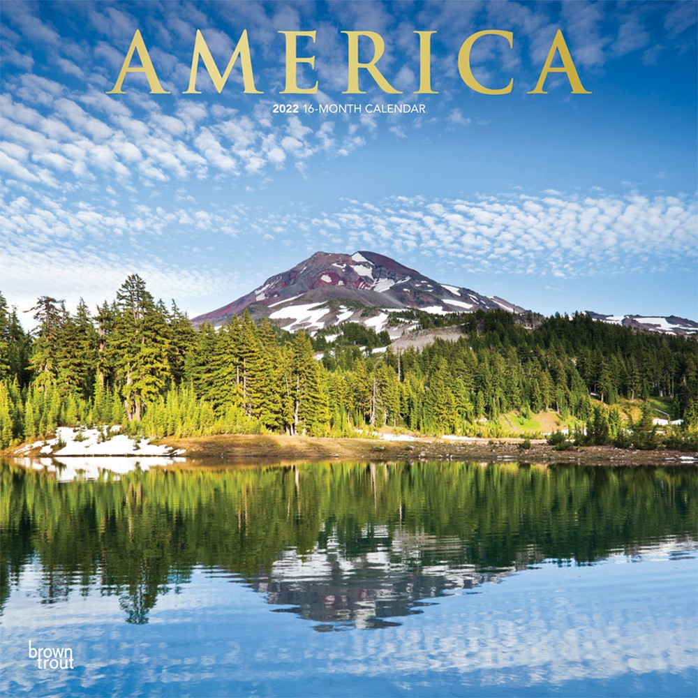 America 2022 12 X 12 Inch Monthly Square Wall Calendar with 2022 Sunrise And Sunset Calendar