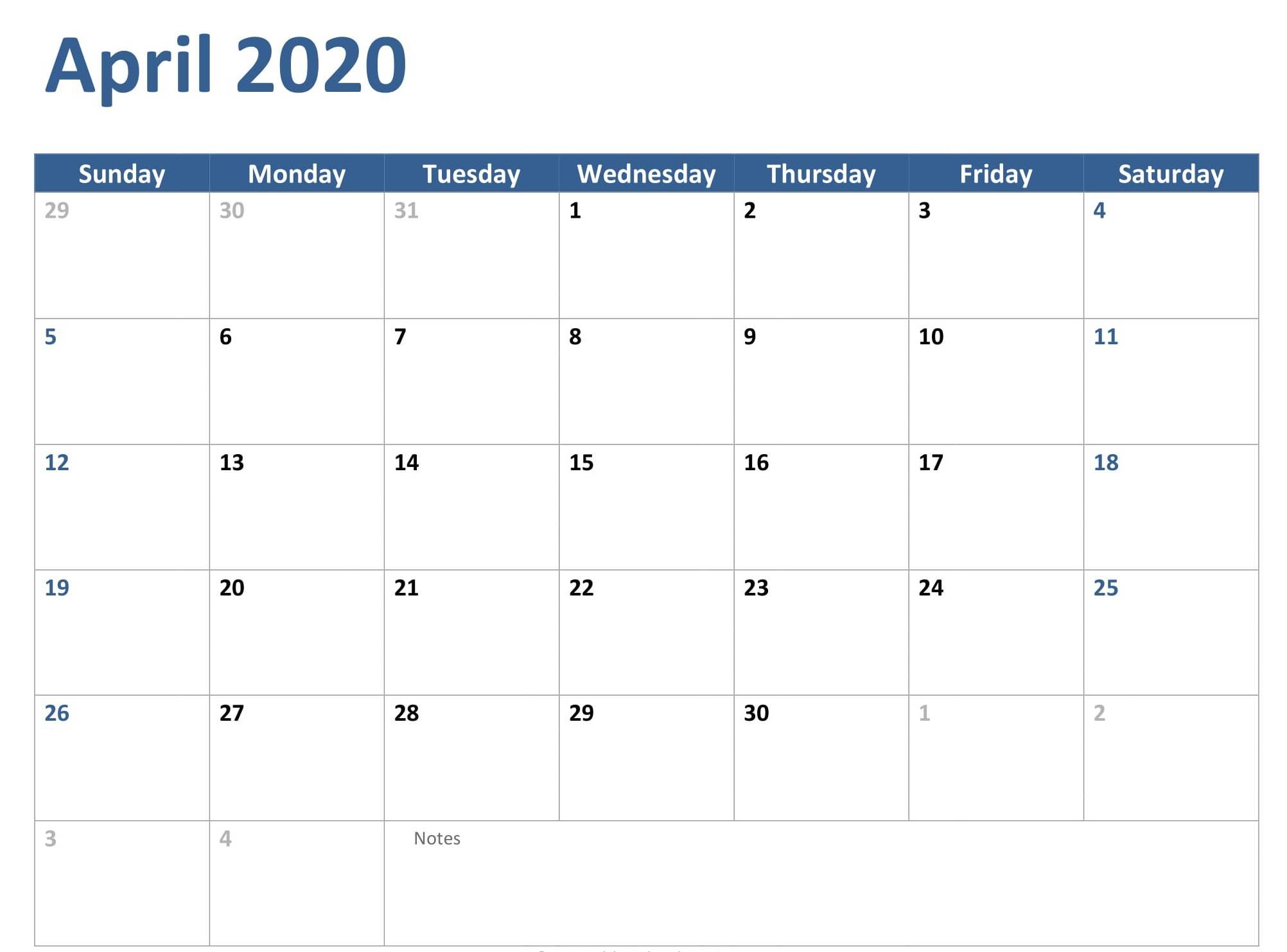 April 2020 Calendar Excel Worksheet Template pertaining to Export Excel Worksheet Into A Calendar