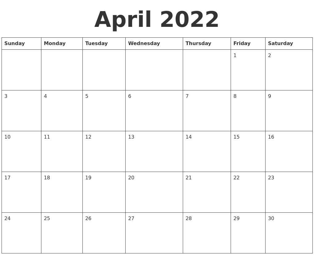 April 2022 Blank Calendar Template with 2022 Day To Day Calendars For Men