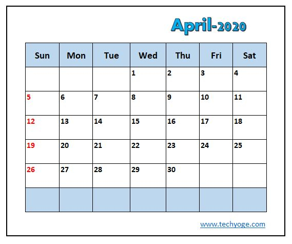 April Calendar 2020 In Excel Free - Techyoge pertaining to Connect Excel To Calendar