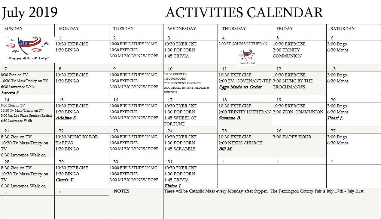 Assisted Living Activity Calendar Format   Printable pertaining to Monthly Sun Set Times By Zip Code