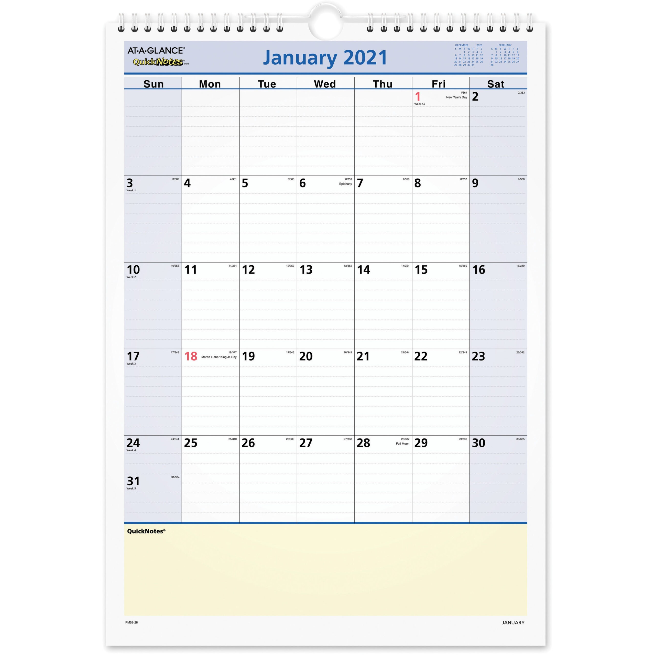 At-A-Glance Quicknotes Monthly Wall Calendar in January 2022 Calendar With Julian Dates