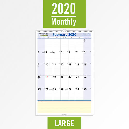 At-A-Glance Quicknotes Monthly Wall Calendar (Pm5428 in January 2022 Calendar With Julian Dates