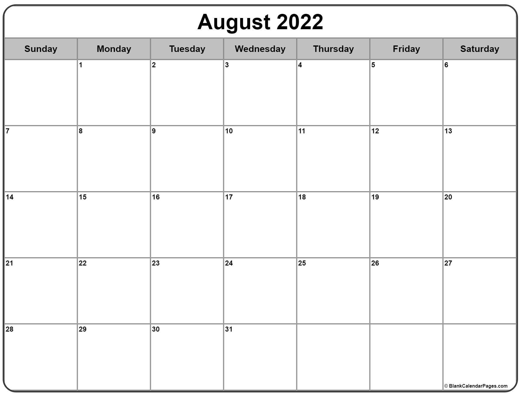 August 2022 Calendar   Free Printable Calendar Templates within Everyday Is A Holiday Calendar 2022