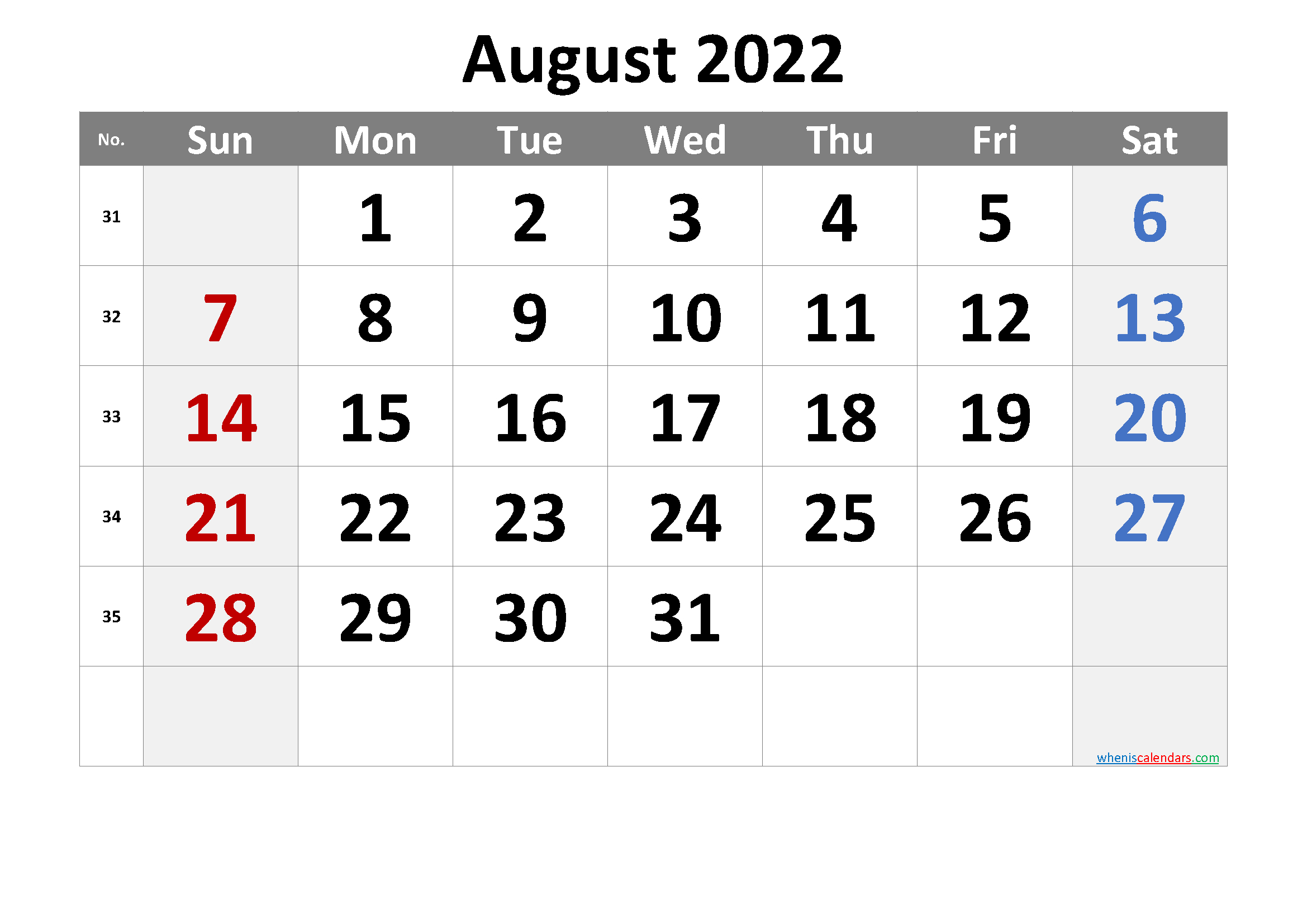 August 2022 Printable Calendar With Holidays - 6 Templates with 2022 Day To Day Calendars For Men