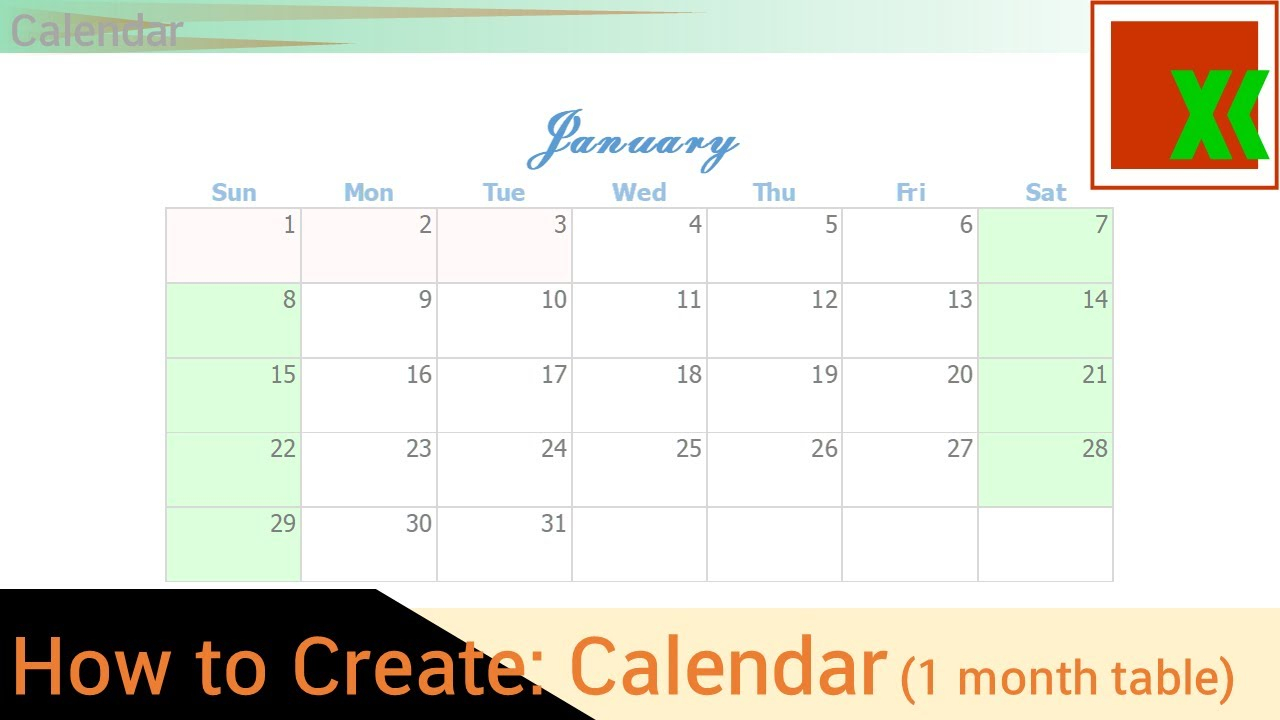Calendar (1 Month Table) -How To Create - Youtube with Connect Excel To Calendar