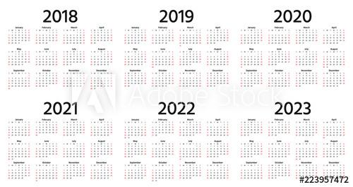 Calendar 2018, 2019, 2020, 2021, 2022, 2023 Year. Vector for Julian Date Calendar For 2022
