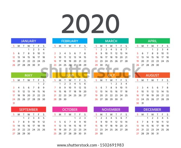 Calendar 2020 Year Week Starts Sunday Stock Vector pertaining to Are Daily Holiday Calendars Copyright