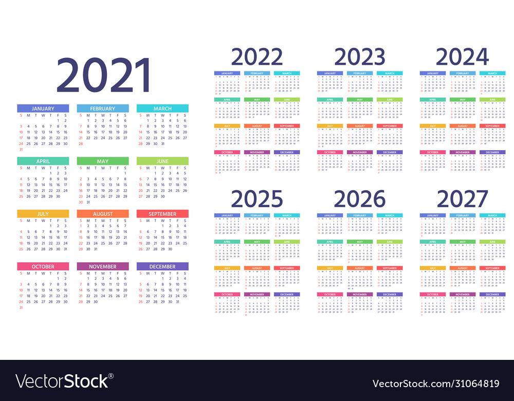 Calendar 2021 2022 2023 2024 2025 2026 2027 Years Vector Image with regard to Walmart 2022 2023 Fiscal Calendar