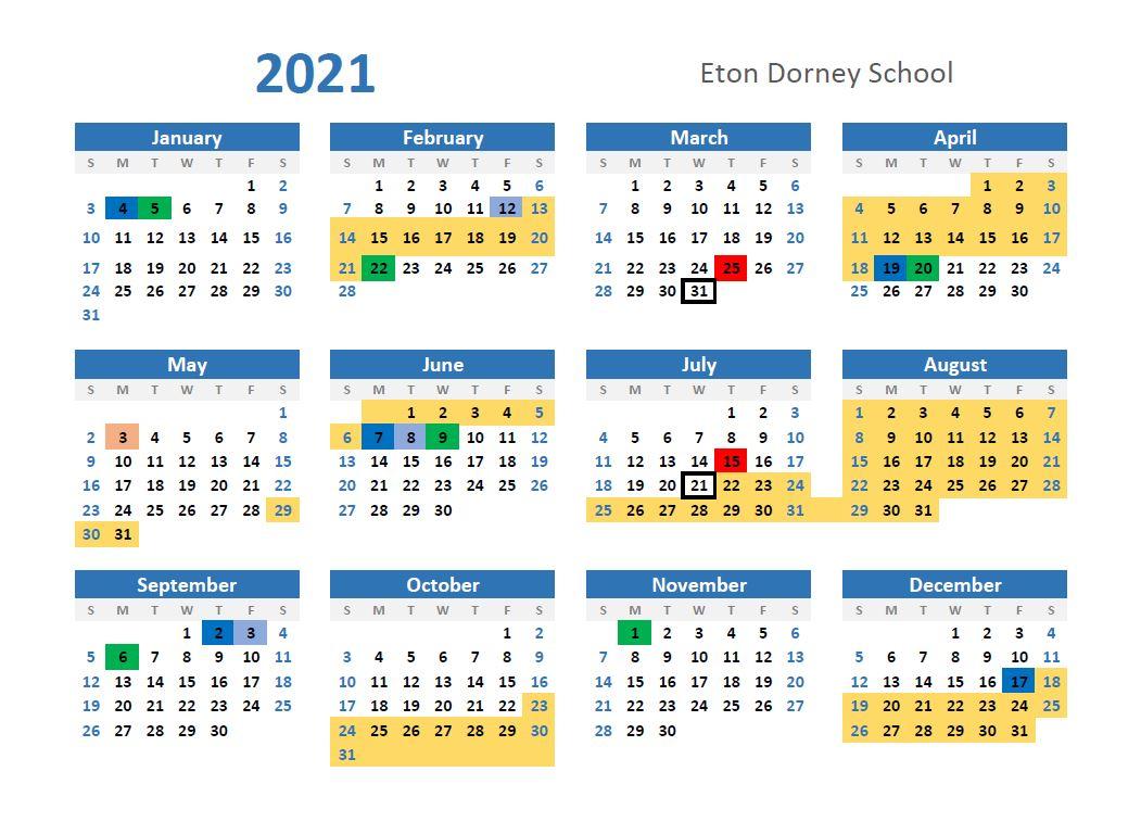 Calendar - 2021 - 2022 - Eton Dorney Special School pertaining to U Of Minnesota 2022 Acedamic Calendar
