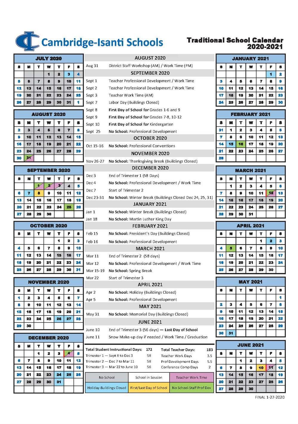Cambridge-Isanti Schools Calendar 2021 And 2022 regarding U Of Mn Calendar 2022
