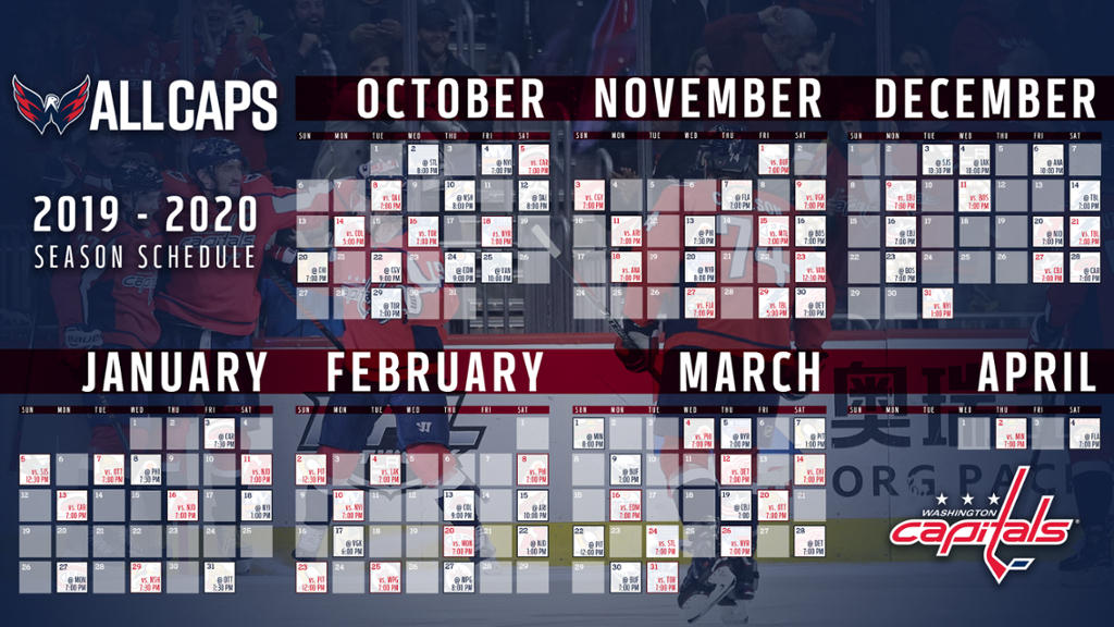 Capitals Announce 2019-20 Regular-Season Schedule | Nhl throughout Tampa Bay Downs 2022 Schedule