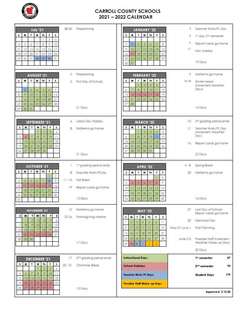 Carroll County Schools Calendar 2021-2022 In Pdf regarding 2022 Monterey County Schedule