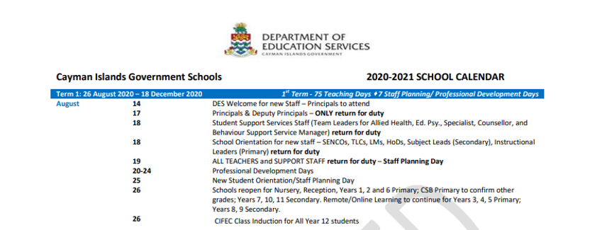 Cayman Islands Department Of Education in Calendar Department Of Education